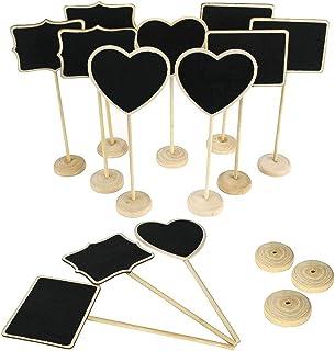 LUCY WEI 15 Pcs Mini Lavagna Legno con Ripiano, Lavagnette Promemoria di 3 Stile, Targhette per Piante per i Giardini di Casa