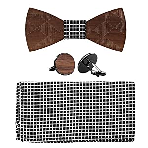 808 Ave Wooden Bowtie Adjustable Neck Band w/Pocket Square & Cufflink Set