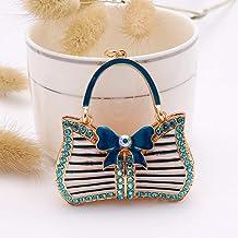 Metalen Sleutelhanger, Met Diamanten Bezette Zakhanger Met Strik, Auto-ornamenten, Kleine Cadeautjes blauw