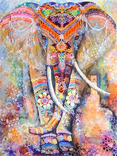 Pintura de diamante 5d taladro redondo completo Animal recién llegado bordado de diamantes decoraciones de elefante para el hogar A10 60x80cm