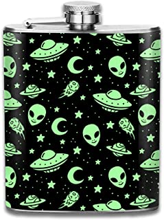 Hhill Swater Green Aliens Stainless Steel Flask Cute Flask Whiskey Vodka Alcohol Hip Flask for Men Travel Climbing Fishing Camping,7OZ