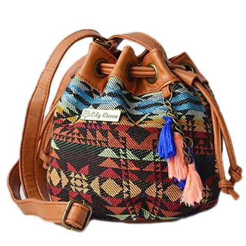 DELEY Vintage Frauen Ethnische Art Eimer Quasten Kordelzug Tote Handtasche Schultertasche Ethnische