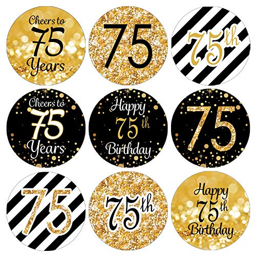 Black and Gold 75th Birthday Hershey Kisses Stickers