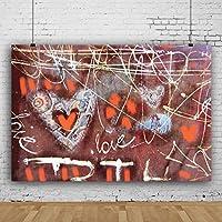 Qinunipoto 背景布 写真 背景 撮影用 バレンタインデー背景 撮影背景ポスター 壁の落書き ラブ 手描き 写真を撮る恋人 バックドロップ写真撮影用 背景シート 新生児写真 ビニール 1.5m x 1m
