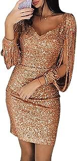 LETSVDO Women's Tassels Sleeve Sequin Bodycon Cocktail Party Club Evening Mini Dress Plus Size