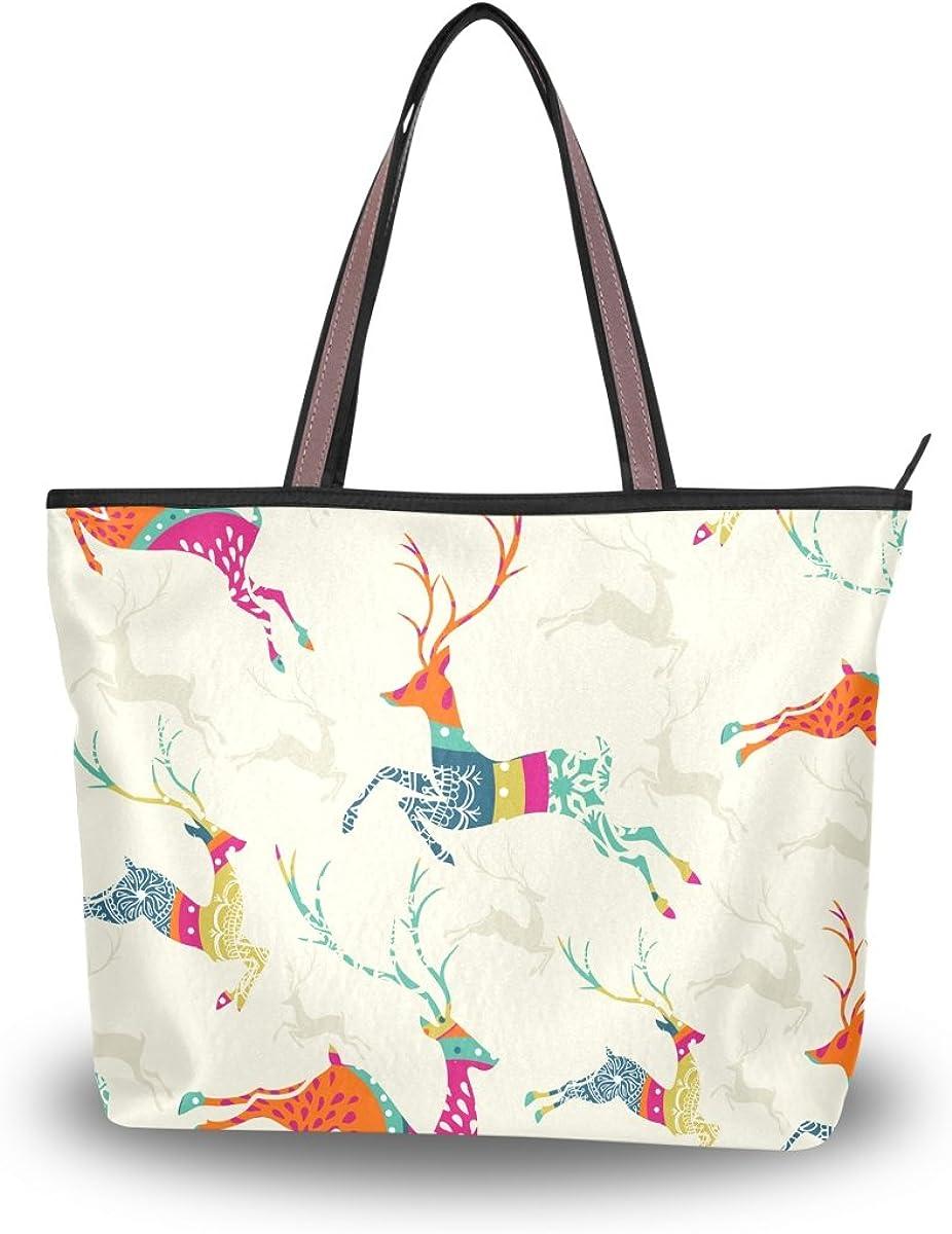 JSTEL Women Large Tote Top Handle Shoulder Bags Christmas Elk Patern Ladies Handbag
