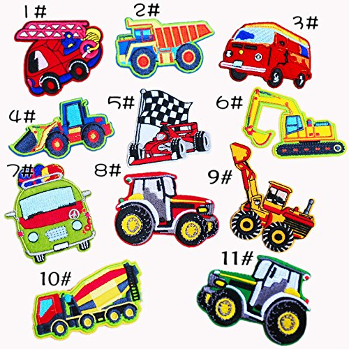 The Bestdeal 11 pcs Assorted Engineering Vehicles Embroidered Iron on patches