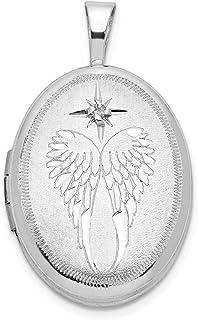 Sonia Jewels Sterling Silver Gold-Toned /& Diamond Angel 12mm Heart Locke