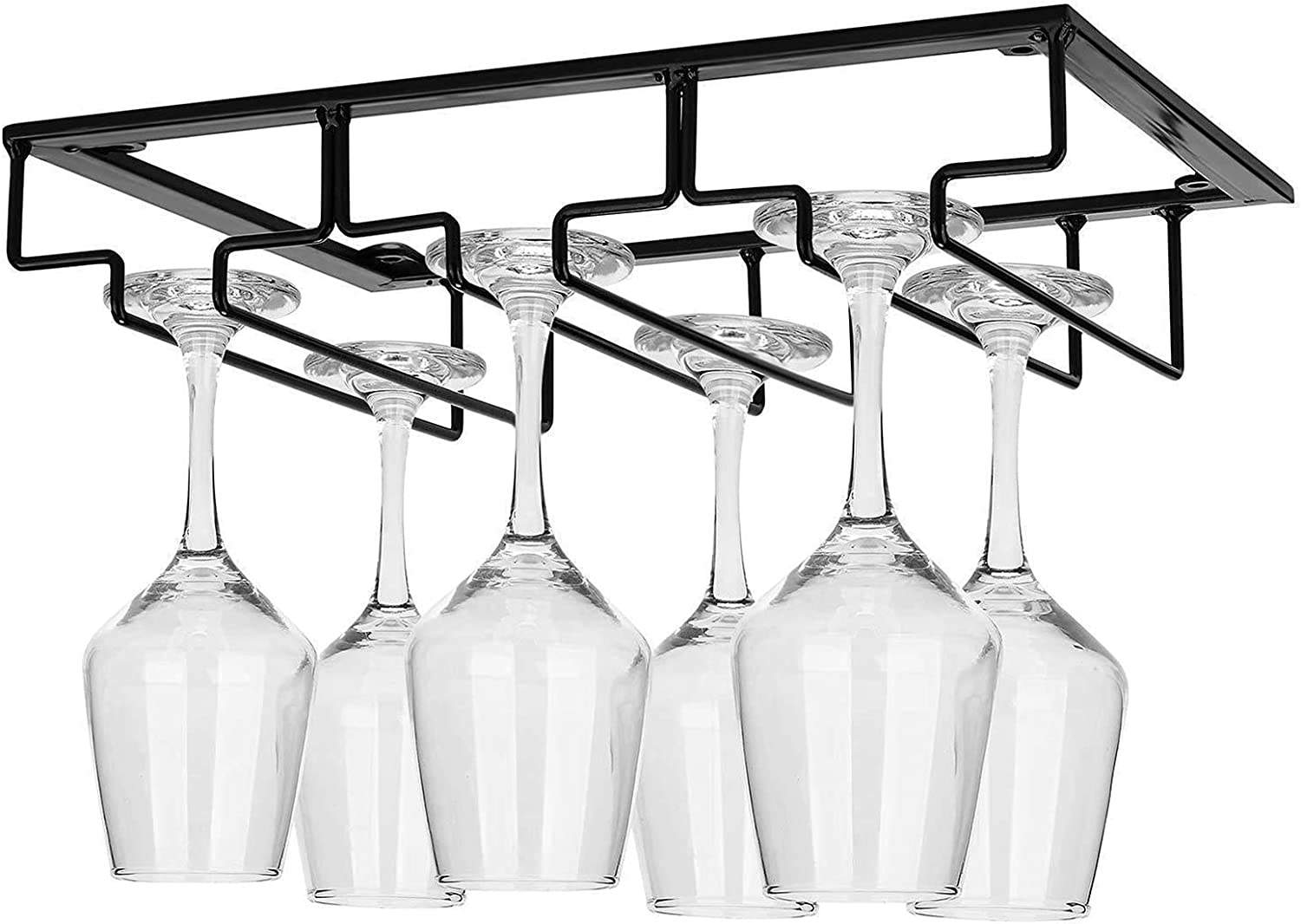 3 Rows Hanging Wine Glass Rack Hold Year-end gift Screws Popular products Black with