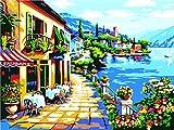 Pintura por Números DIY Acrílica Pintura Kit para Adultos y Niños Principiantes - Pintar con Numeros con 3 Pinceles y Colores Brillantes Sin Marco 40 x 50 cm Café Junto Al Mar