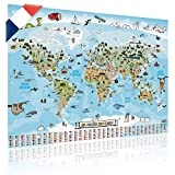 GOODS+GADGETS Carte du Monde panoramique pour Enfants XXL en français - 140x100cm Décoration Murale Chambre Enfant; Entièrement dessinée et coloriée à la Main