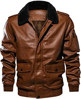 KAAZEE Mens Vintage Style Fur Collar Aviator Flying Pilot Jacket