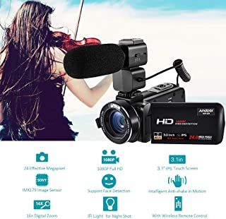 "Digital Video Camera,Andoer HDV-Z20 1080P Full HD 24MP WiFi Digital Video Camera Camcorder with External Microphone 3.0"" R..."