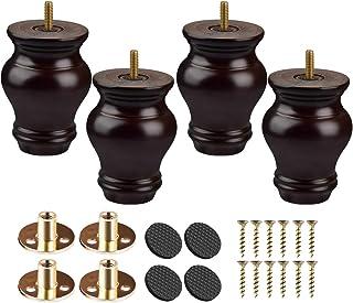 Btowin - Patas de madera maciza para muebles 4 piezas patas de moño de madera torneada con roscas de 5/16 pulgadas plac...
