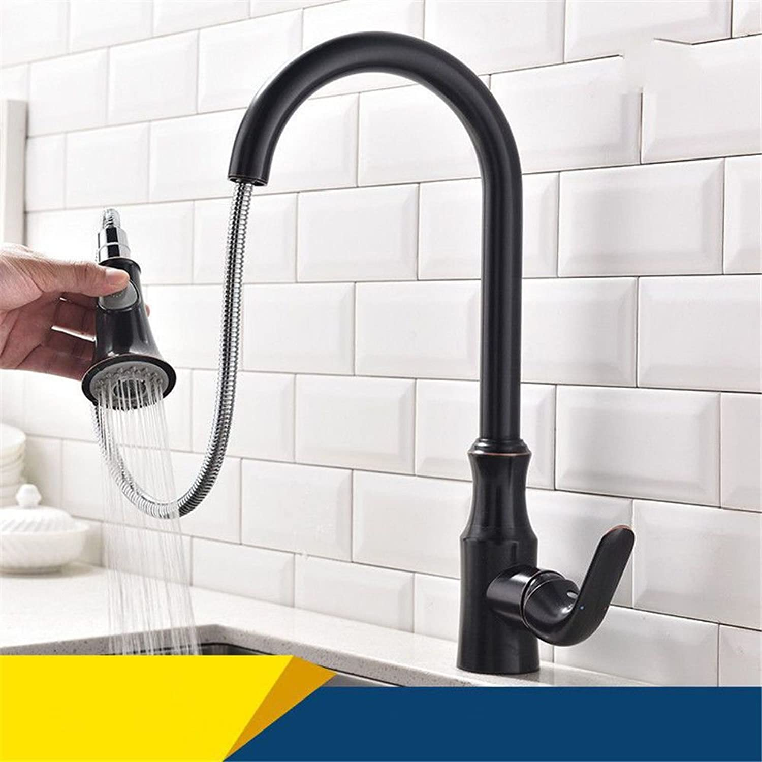 Hlluya Professional Sink Mixer Tap Kitchen Faucet Retro pull-down kitchen faucet hot and cold water mixing valve retractable black sink washing dishes basin mixer