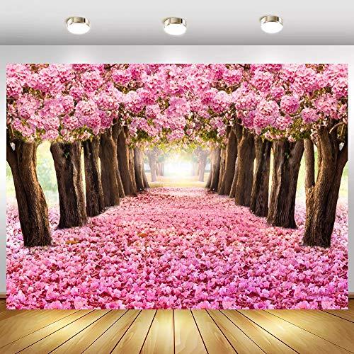 Fondos de Retrato de niño romántico con Forma de pétalo de árbol de Flores Rosadas para Estudio fotográfico A1 5x3ft / 1,5x1m