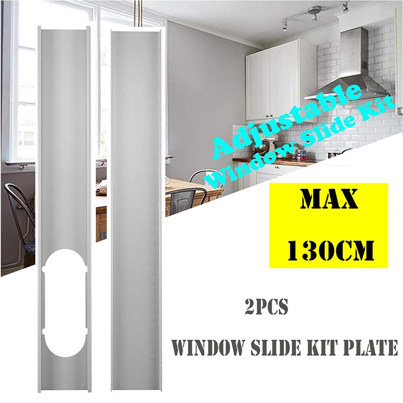 2Pcs Window Slide Kit Plate or 1 pcs 6inch Window Adapter for Portable Air Conditioner-Window Slide Kit Plate