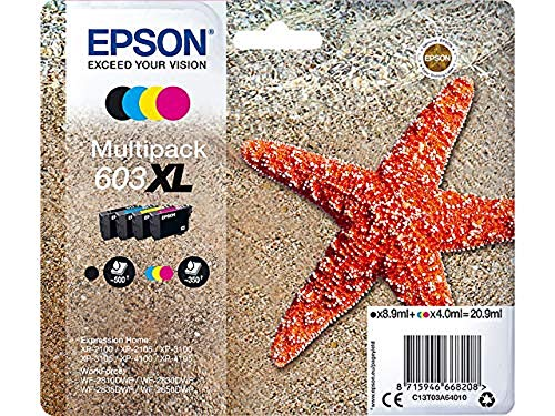 Epson Original 603XL Tinte Seestern, WF-2830DWF WF-2835DWF WF-2850DWF XP-2100 XP-2105 XP-3100 XP-3105 XP-4100 XP-4105, Amazon Dash Replenishment-fähig (Multipack 4-farbig) Normalverpackung