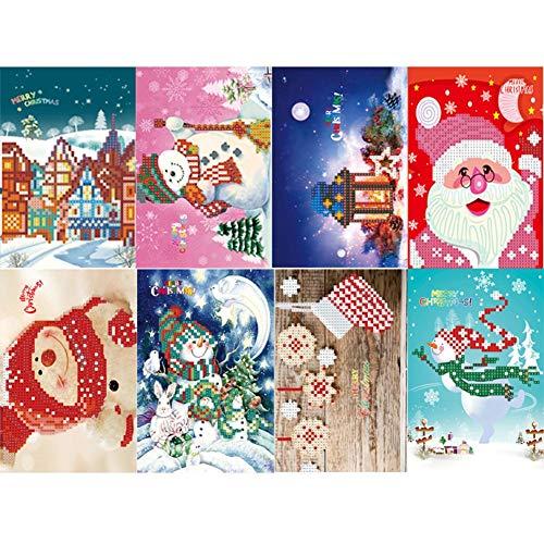 NELNISSA DIY diamantschilderij verjaardagskaart, 8 stuks 5D DIY boor-diamant-schilderij groetkaarten-kerstfeest-geschenken