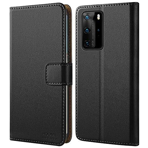 HOOMIL Handyhülle für Huawei P40 Pro Hülle, Premium Leder Flip Hülle Cover Schutzhülle für Huawei P40 Pro Tasche, Schwarz