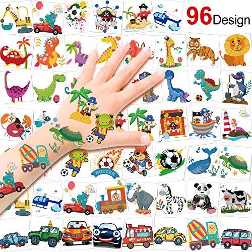 HOWAF Tattoo Kinder, 96 Piraten Fußball Tier Fahrzeuge Dinosaurier Tattoo Set Kindertattoos Aufkleber für Jungen Mädchen Kinder Spielen Mitgebsel Kindergeburtstag Party