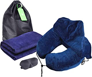 Neck Support Travel Pillow and Blanket 51 x 67inch Super Soft with Comfortable Sleeping Eye Mask for Airplane