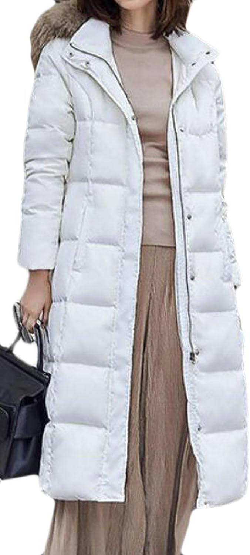 Pandapang Women's Slim Faux Fur Hood Puffer Down Long Outwears Jackets