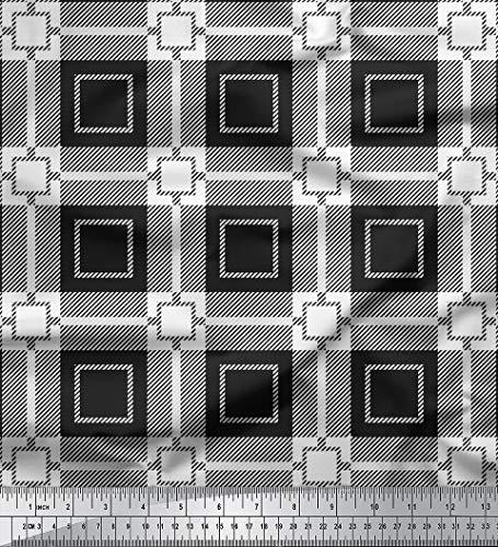 Soimoi 58 Zoll breit Scheck gedruckt Dekorative Baumwollgewebe Schneiderei Material 60 GSM durch Das Messgerät - Schwarz