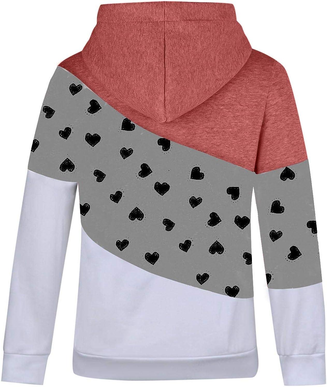 Womens Cowl Neck Sweatshirts Contrast Dots Print Pullover Hoodies Tops Drawstring Hooded Long Sleeve Tunic