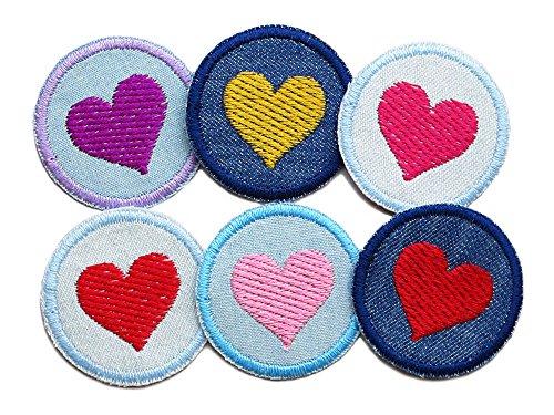 Set 6 Jeansflicken Herz Mini Hosenflicken Patch zum aufbügeln Mädchen