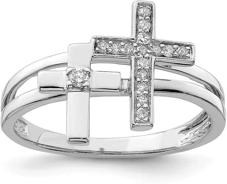 Beautiful Sterling silver 925 sterling Sterling Silver Rhodium Diam. Crosses Ring