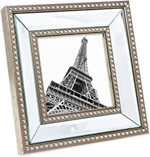 Isaac Jacobs 4x4 Champagne Mirror Bead Picture Frame - Classic Mirrored Frame with Dotted Border Made for Wall Display, Tabletop, Photo Gallery and Wall Art (4x4, Champagne)
