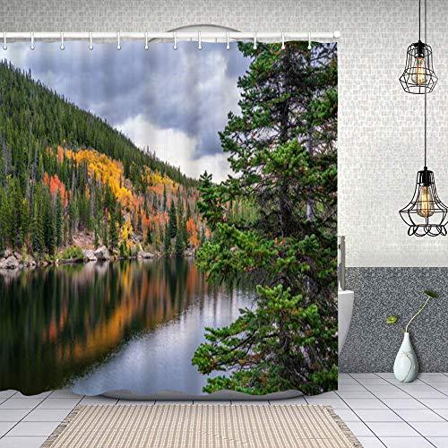 Starodec Cortina de Ducha Impermeable Bear Lake en el Parque Nacional de Las montañas rocosas en otoño Cortinas baño con Ganchos Lavable a Máquina 72x72 Inch