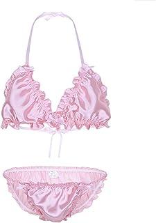 iiniim Men's Ruffled Frilly Shiny Strappy Sissy Bikini Set Wire-Free Halter Bra Top with Briefs Underwear