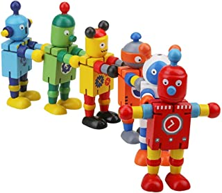 YEEMAX 12 PCS Better Quality Classic Wood Robot Toy (3 Robots x 4 Boxes)