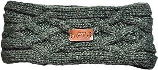 Aran Knitted Traditional patterns Headband, Dark Green Colour