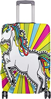 Mydaily Color Unicorn Pop Art Luggage Cover Fits 18-32 Inch Suitcase Spandex Travel Protector Cover Only