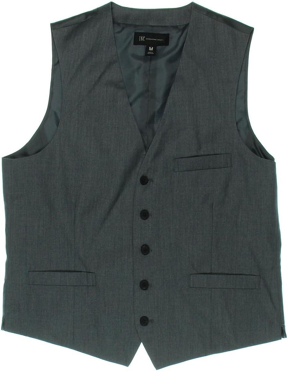 INC Men's 5 Button Gordon Slim Fit Suit Vest, Heather Grey, S