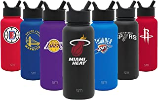 Simple Modern NBA & College 32oz Summit Water Bottle with Straw Lid - 18/8 Vacuum Insulated Stainless Steel