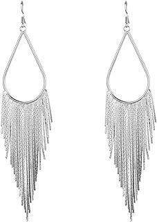 Dangle Long Tassel Women's Earrings Tear Drop Chandelier Styled White Gold Plated Jewelry Banquet