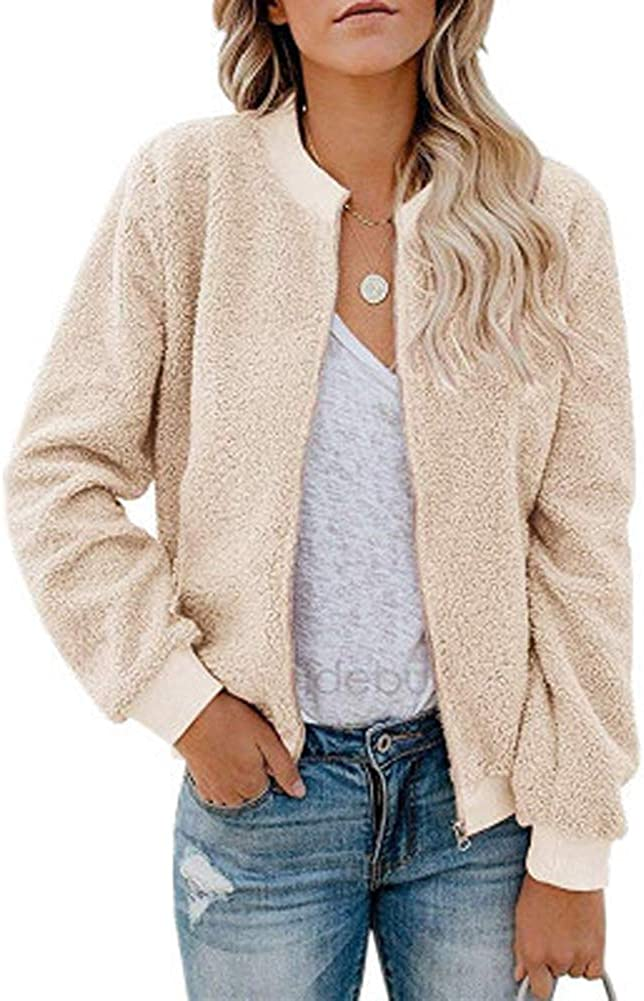 KOVCOAP Women's Long Sleeve Zip Up Jacket Casual Stand-up Collar Faux Fuzzy with Pockets Winter Coat