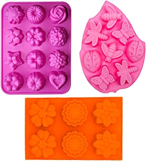 3PCS 3D Silicone Molds Cupcake Baking Mold DIY Cake Mold Soap milds Included 12-cavity Flowers Mold, 6-cavity Flowers Silicone Muffin Mold and 8-cavity Insect Silicone Cake Mold