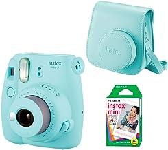 Fujifilm Instax Mini 9 - Kit de Cámara Fotográfica con Funda y Peliculas (10), Azul (Ice Blue)