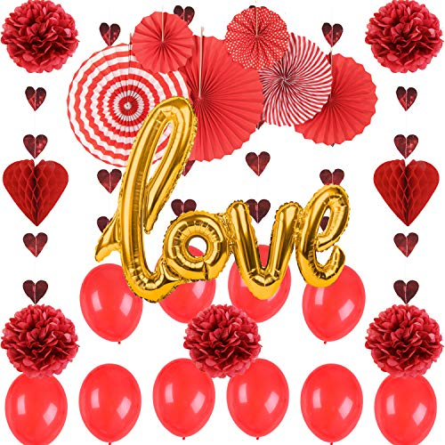 SUNBEAUTY Valentines Day Decorations Red Heart Hanging Foil Swirls Bunting Banners Garland Love Balloons Paper Honeycomb Pom Pom for Wedding Bridal Shower Engagement Party Decorations