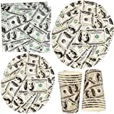 "Money $100 Dollar Bills Birthday Party Supplies Tableware Set 24 9"" Plates 24 7"" Plate 24 9 Oz. Cups 50 Lunch Napkins for Adult Teens Kids One Hundred Dollars Bill Cash Casino Disposable Paper Goods"