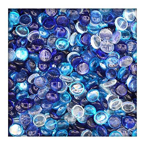 Kieskönig 1 kg Glasnuggets Glassteine Muggelsteine Mosaiksteine Tischdeko 17-19 mm Blaumix