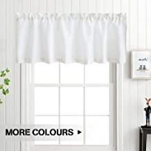 White Valance Curtain 18 inch Waffle Weave Fabric Window Curtain for Kitchen Living Room Bedroom 60 by 18 inch One Panel