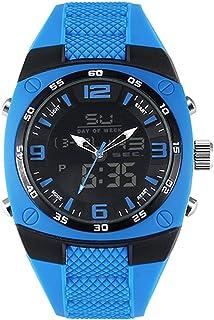 Men's Sports Analog Quartz Watch Dual Display Waterproof Digital Watches with LED Backlight relogio Masculino El Movimiento de Los relojes- Blue