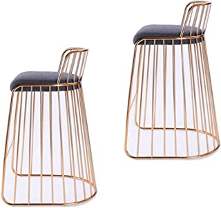QQXX Bar Stools Modern Drink Coffee High Stool Bar Chair Minimalist Wrought Iron Style Wire Chairs, Makeup Stools, Kitchen Stools, Counter Stools, in Gold (Set of 2) (Color : B, Size : Two)