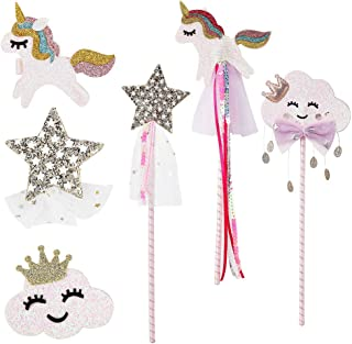 PinkSheep Fairy Wand, Star Wand Unicorn Wand Unicorn Hair Clips, 6PC, Magic Wand White